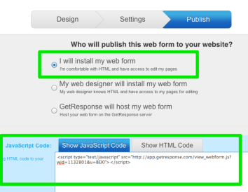 Publish your GetResponse web form