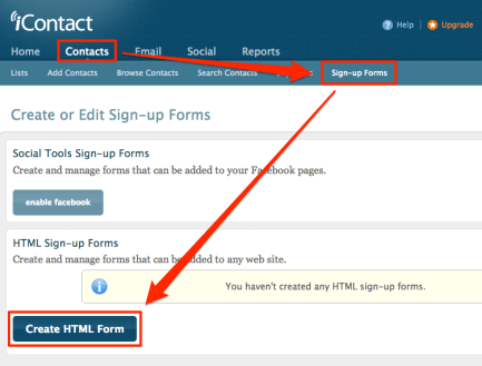 Create an iContact sign-up form