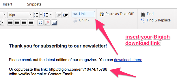 Insert Digioh Link into Infusionsoft Response Email