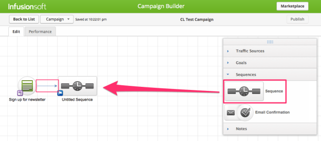 Add a sequence in the Infusionsoft campaign builder