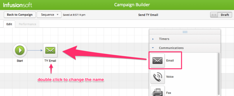 Create a thank you email for your Infusionsoft signup form