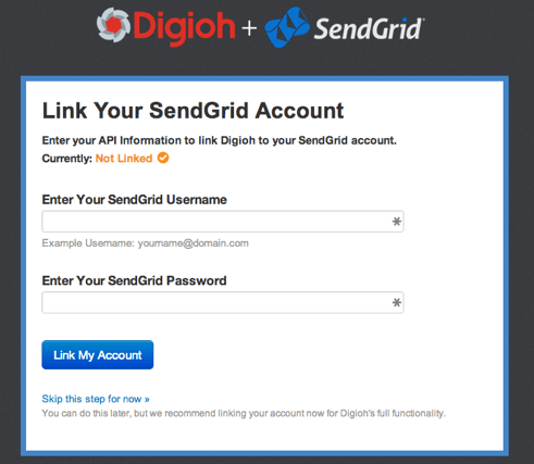 Link Your SendGrid Account Screenshot