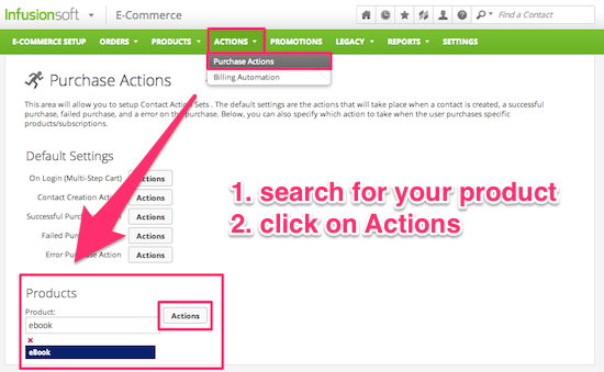 Create a purchase action