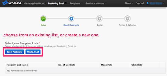 Choose or create a SendGrid list