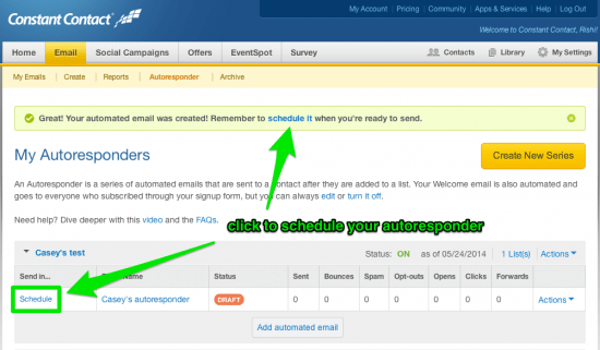 Schedule you Constant Contact Autoresponder