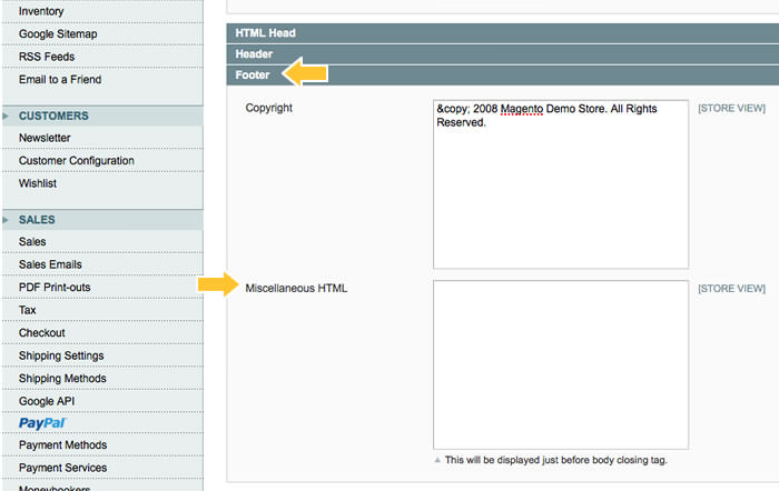 Magento Admin Panel |  System Configuration | Design | Footer | Miscellaneous HTML