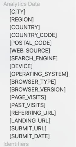 analytics fields form builder