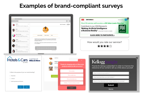 examples of email and pop-up survey templates for salesforce