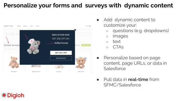 a pop-up CTA that shows content dynamically based on current page content