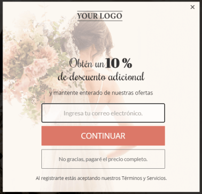 variation of the pop-up form in Spanish