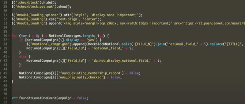 javascript code snippet used to integrate a Digioh preference center with Salesforce CRM