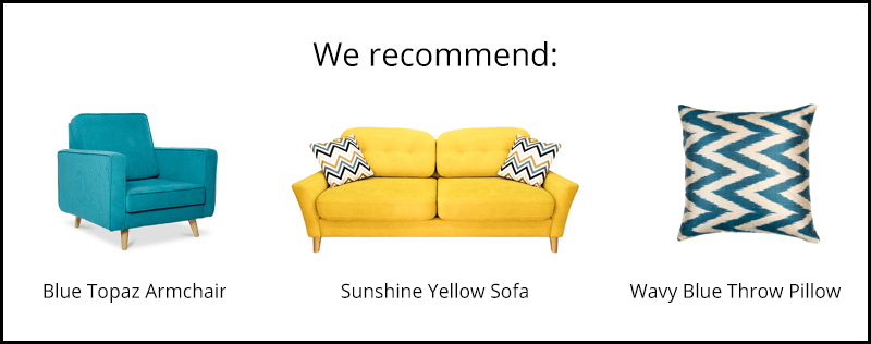 home decor quiz that recommends an armchair, sofa, and throw pillow that pair well together