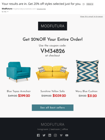 personalized email with product recommendations and a unique coupon code
