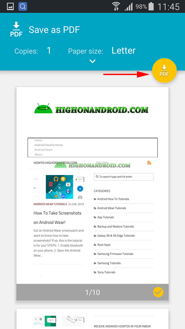 How to Convert Web Pages to PDF on Android!   HowTo.HighOnAndroid.com