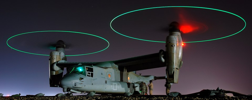 V-22 Osprey with blade tip lights