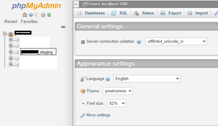 New database in phpmyadmin