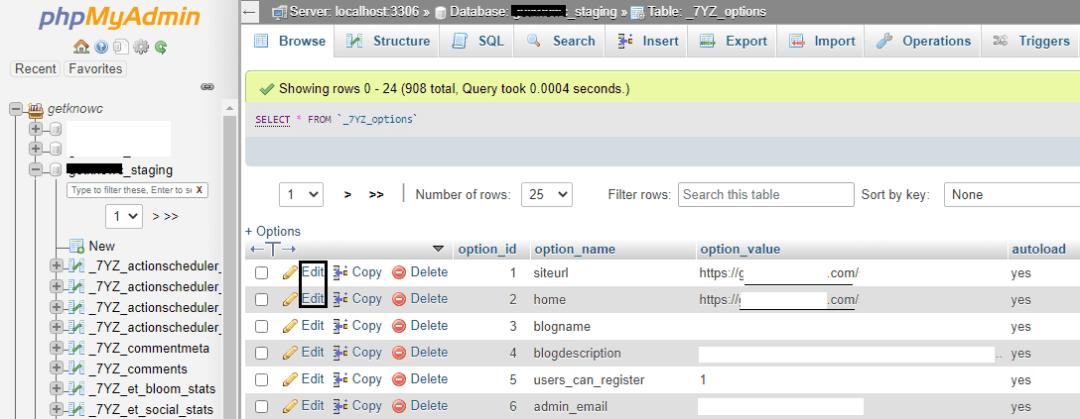 Option inside new database in phpmyadmin_details