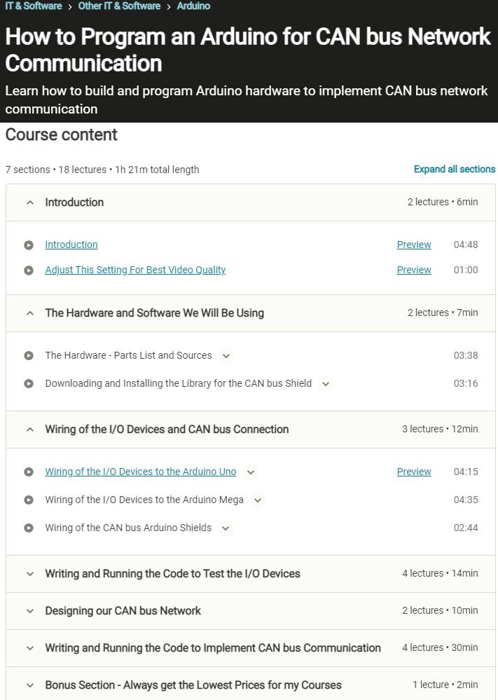 Online course CAN communicatio content