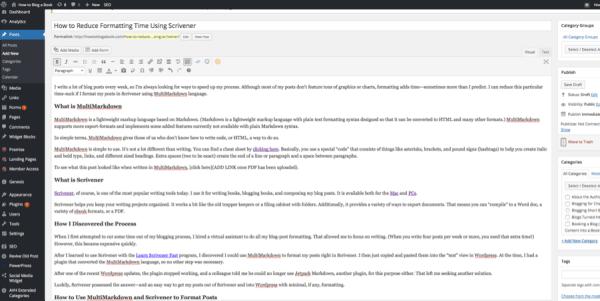 Scrivener to WordPress compile