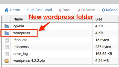 Screenshot of the new WordPress folder