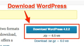 Screenshot showing the download button for WordPress