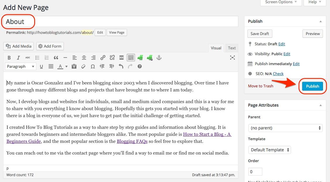 Screenshot showing the edit new page window in WordPress