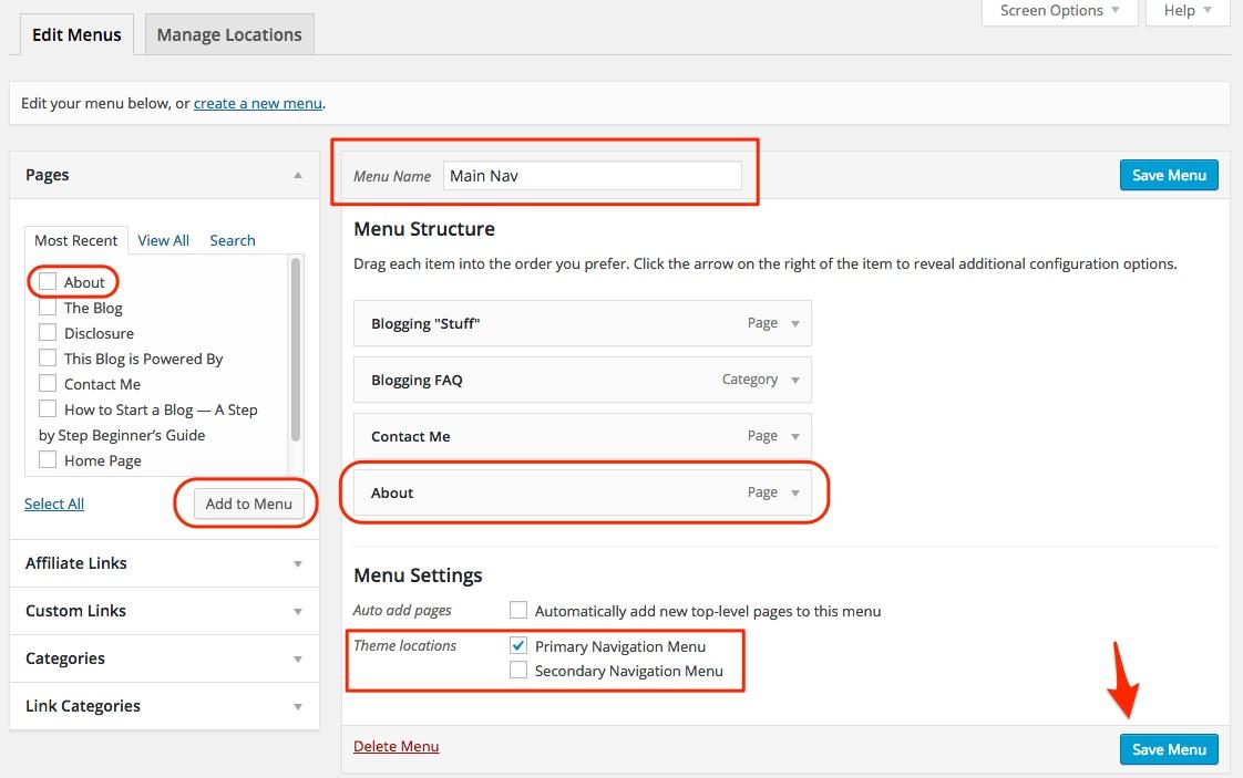 Screenshot showing the menu manager for WordPress