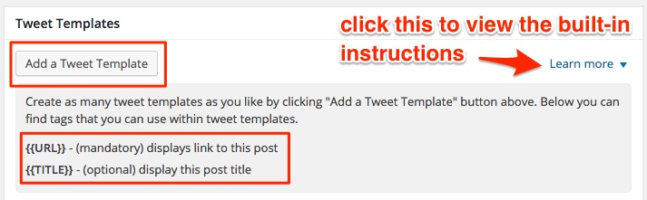 Screenshot showing the tweet templates settings section for Tweet Wheel