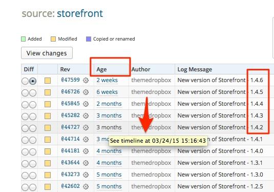 Screenshot indicating how to read the development log