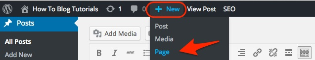 Screenshot showing the admin menu bar to add new page in WordPress