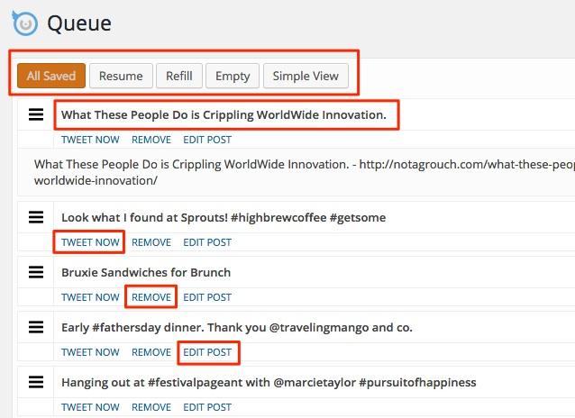 Screenshot showing the Queue for Tweet Wheel