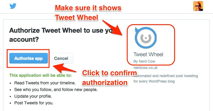 Screenshot showing the Authorize App page for Tweet Wheel