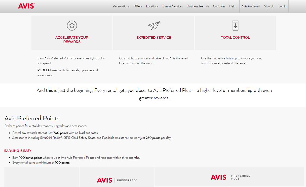 Avis Preferred Points