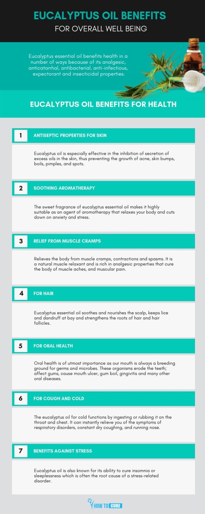 eucalyptus oil benefits - infographic