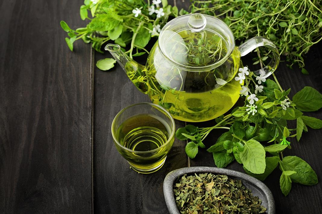 green tea leaves with greentea