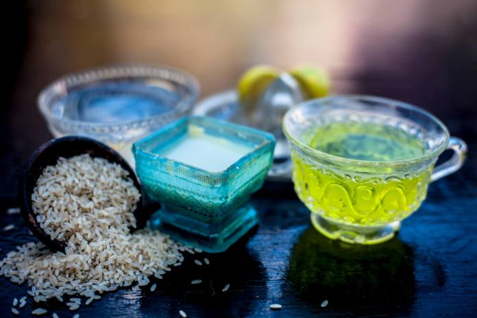 Green tea and rice water for hair growth