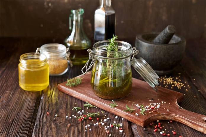 Mustard, olive oil, and fermented rice water