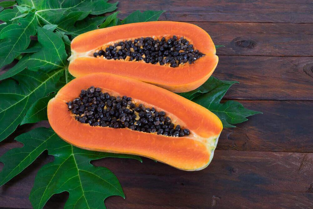 Papaya with Leaves
