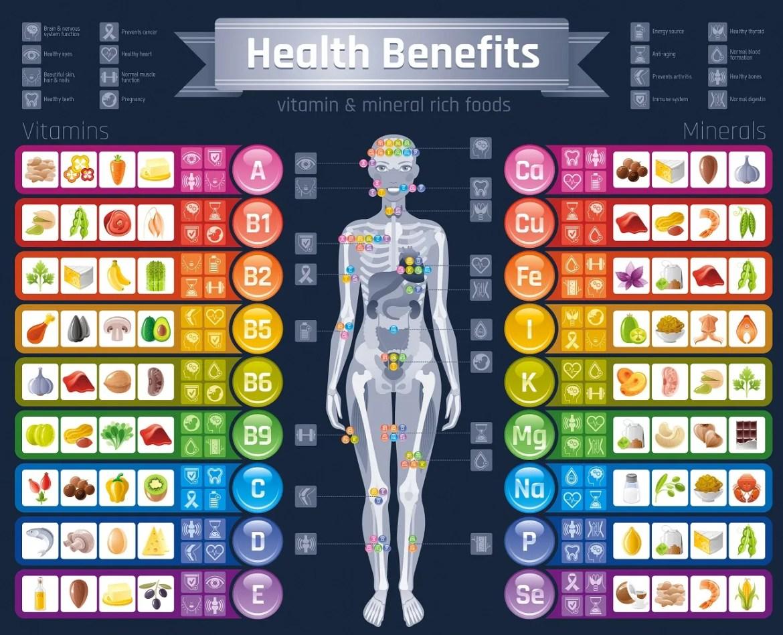 minerals - vitamins - infographic