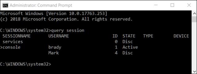 command prompt, session request command