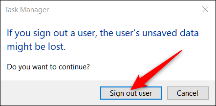 click on disconnect the user on the warning prompt