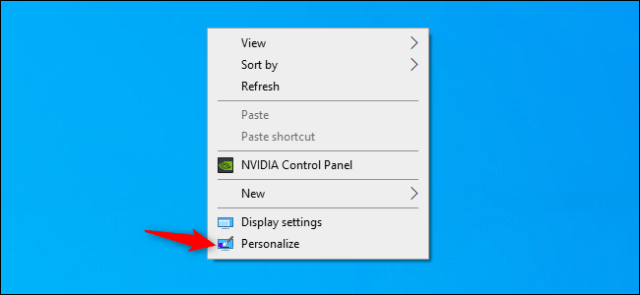 The Customize option in the context menu of the Windows 10 desktop