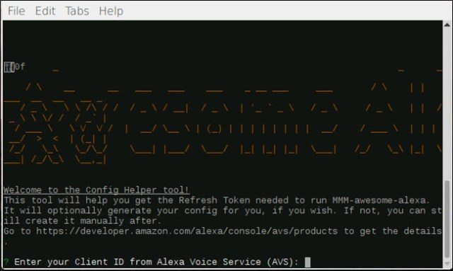 Configuration Help Dialog for MMM-awesome-alexa