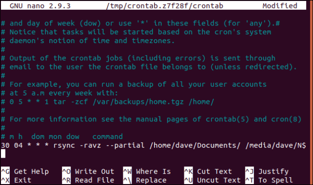 open crontab in nano in a terminal window