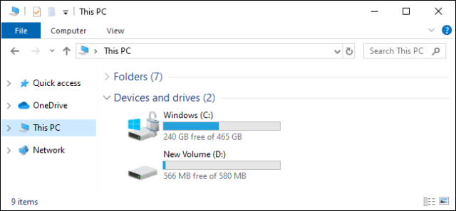 This PC view showing C: and D drives: Windows 10