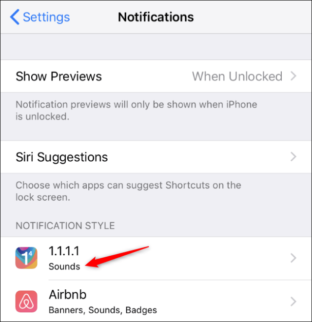 IPhone notifications screen showing an app with only sound alerts.