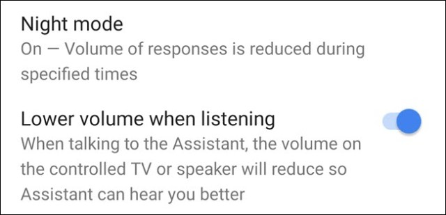 Night Mode option in the Google Home app.