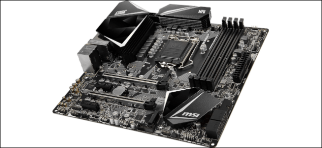 A bare ATX gaming motherboard.