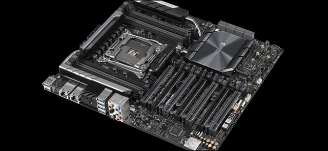 An Asus motherboard for Xeon processors on a black background.