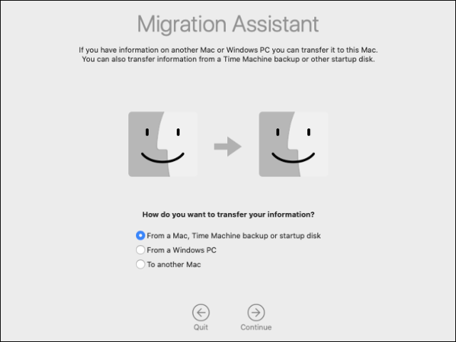 The macOS migration wizard pane.